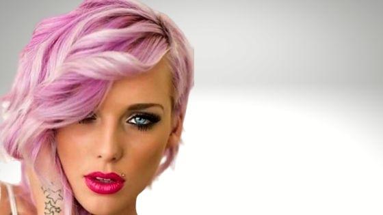 Pink wavy haircut