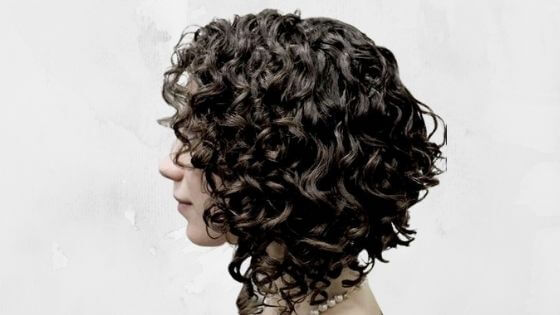 Long Bob cut in layers curly hair
