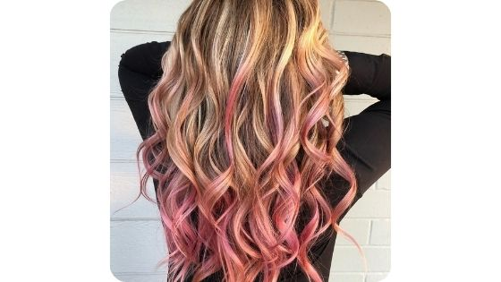 dirty blonde with pink tips