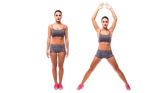 Jumping jacks in hourglass workout